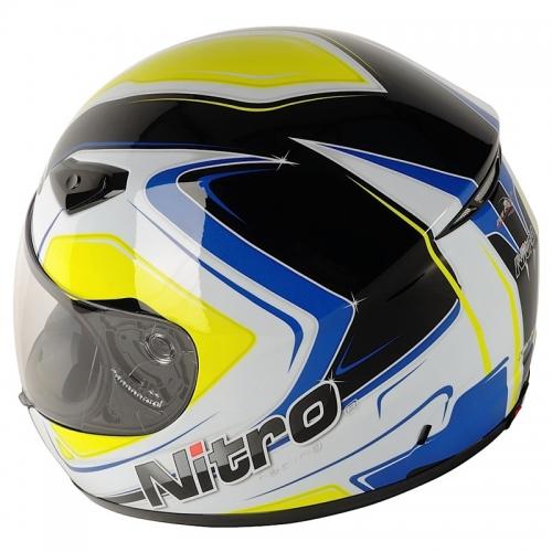 МОТОШЛЕМ NITRO VERTICE JNR BLACK-WHITE-BLUE  Артмото - купить квадроцикл в украине и харькове, мотоцикл, снегоход, скутер, мопед, электромобиль