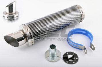 Глушитель (тюнинг) 300*90mm, креп. 48mm (нержавейка, карбон mod:2, прямоток, тип:3)
