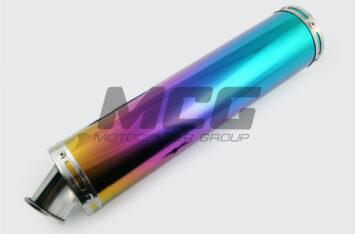 Глушитель (тюнинг) 420*100mm, креп. 78mm (нержавейка, радуга, без креплений, mod:53)