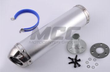 Глушитель (тюнинг) 300*90mm, креп. 48mm (нержавейка, серебро, прямоток, mod:37)
