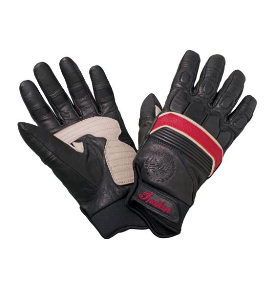 Retro Glove — Black/Red Leather by Indian Motorcycle  Артмото - купить квадроцикл в украине и харькове, мотоцикл, снегоход, скутер, мопед, электромобиль