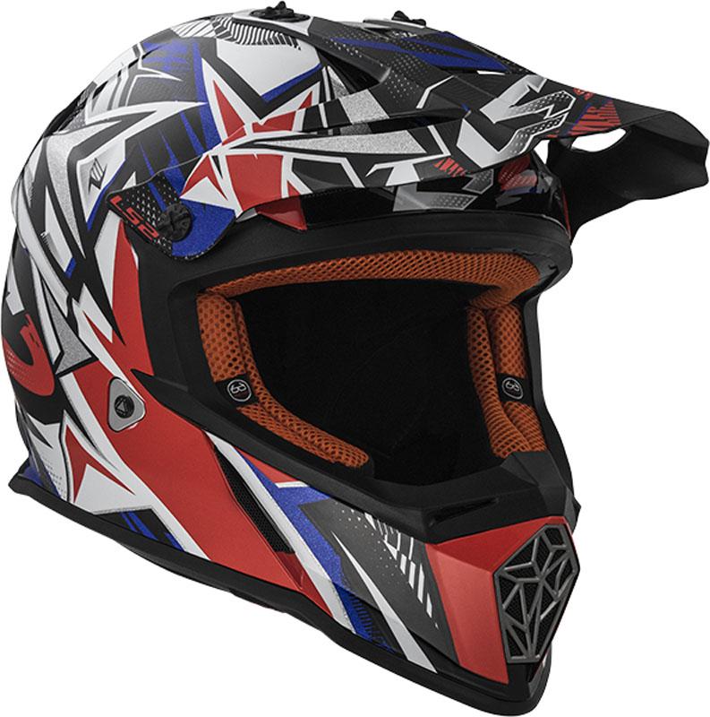 КРОССОВЫЙ (Эндуро) ШЛЕМ LS2 MX437 FAST STRONG WHITE RED BLUE  Артмото - купить квадроцикл в украине и харькове, мотоцикл, снегоход, скутер, мопед, электромобиль