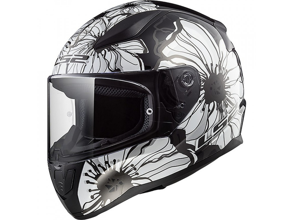 МОТОШЛЕМ LS2 FF353 RAPID POPPIES BLACK-WHITE  Артмото - купить квадроцикл в украине и харькове, мотоцикл, снегоход, скутер, мопед, электромобиль