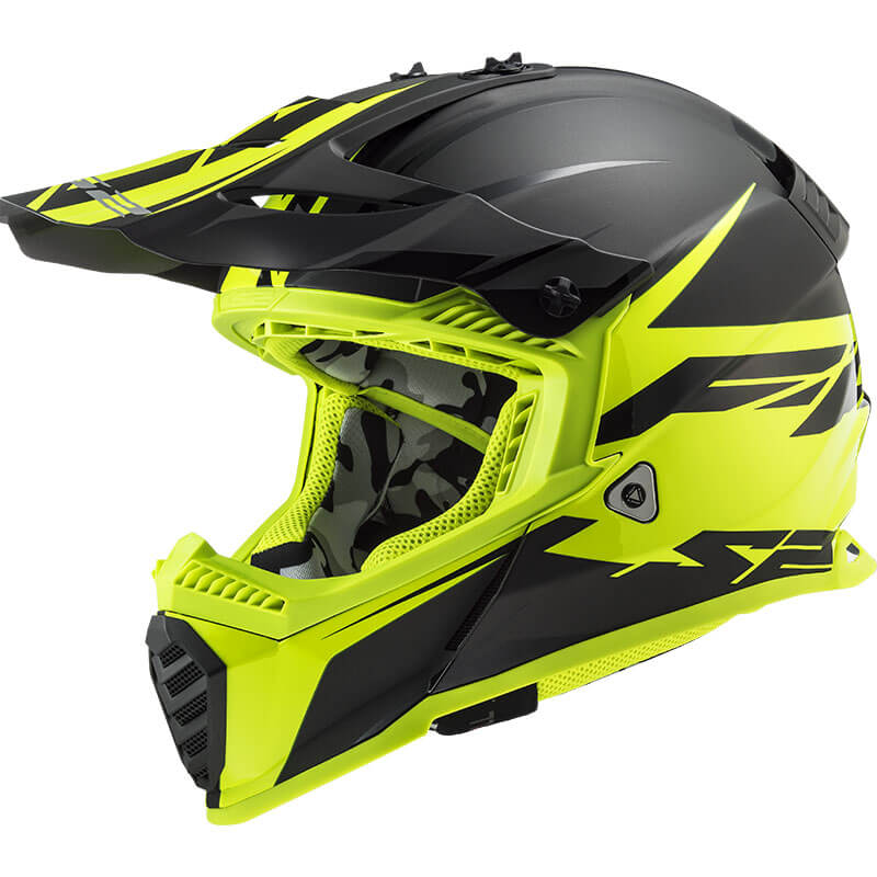 КРОССОВЫЙ (Эндуро) ШЛЕМ LS2 MX437 FAST EVO ROAR BLACK HI-VIS YELLOW  Артмото - купить квадроцикл в украине и харькове, мотоцикл, снегоход, скутер, мопед, электромобиль