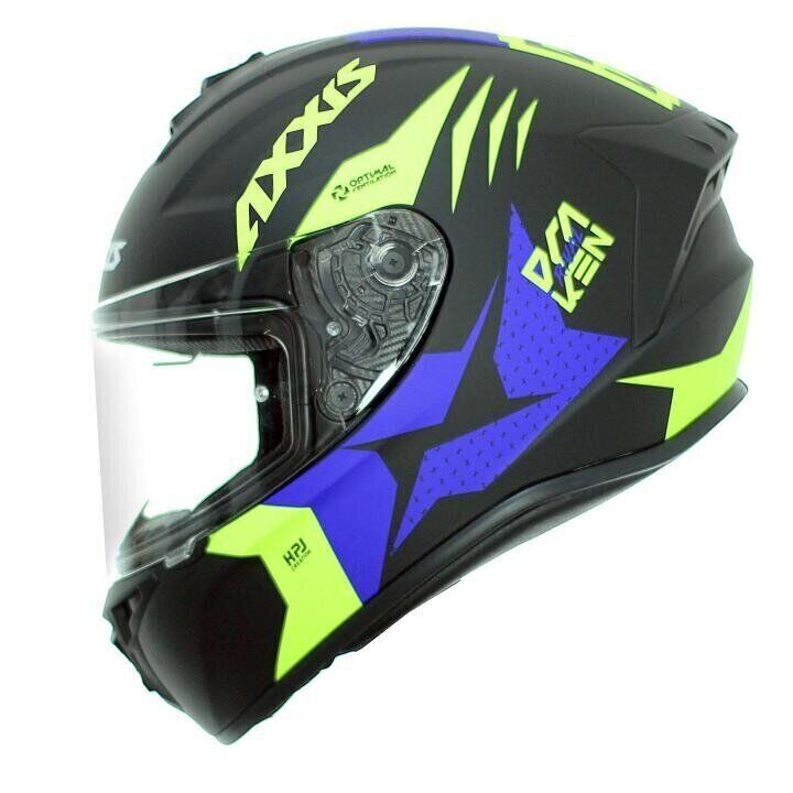 Мотошлем AXXIS DRAKEN RIVAL B3 Matt Fluor Yellow Blue  Артмото - купить квадроцикл в украине и харькове, мотоцикл, снегоход, скутер, мопед, электромобиль